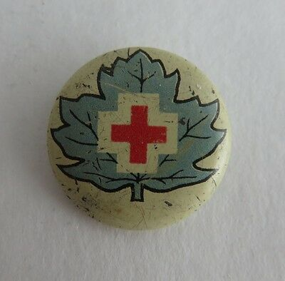 Vintage Red Cross With Blue Leaf Pin Pinback Button   (Inv2070)