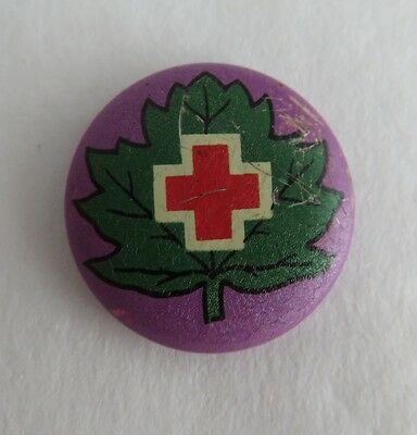 Vintage Red Cross With Leaf And Purple Back Pin Pinback Button   (Inv2071)
