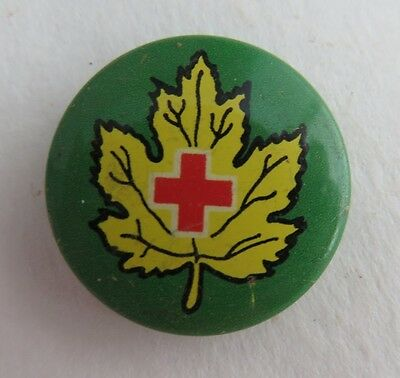 Vintage Red Cross Yellow Maple Leaf Pin Pinback Button   (Inv2044)