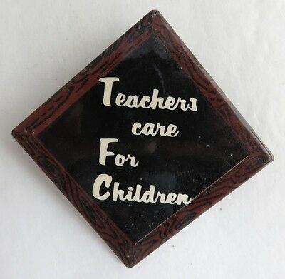 Vintage Teachers Care For Children Pin Pinback Button      (Inv3177)