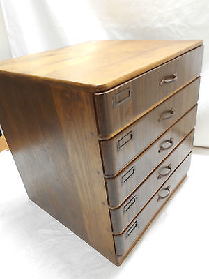 Vintage Chestnut Wood Office Box Japanese Drawers Circa 1950s #464