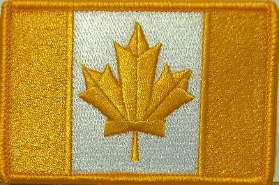 CANADA Flag Patch With VELCRO® Brand Fastener Gold & White Gold Border #09