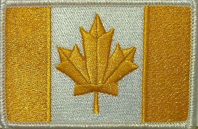 CANADA Flag Patch With VELCRO® Brand Fastener Gold & White  White Border #10