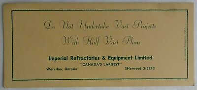 """1959 """"vast Projects With Vast Plans"""" Blotter Trade Card    (Inv2850)"""
