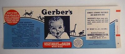 Gerber's Vegetable And Bacon With Rice Original Unused Paper Label