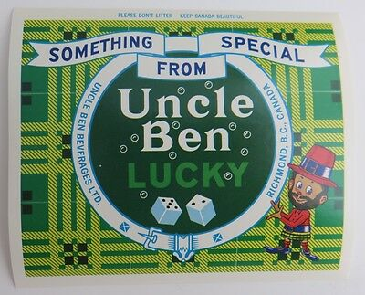 Uncle Ben Lucky Beverages Bc Canada Unused Label  (Inv1484)