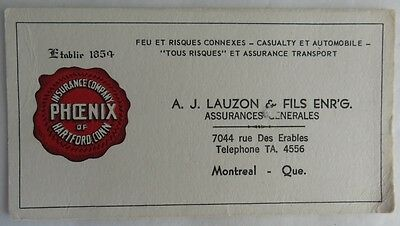 Vintage French Insurance Company Of Phoenix Trade Card Blotter    (Inv2602)