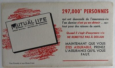 Vintage French Mutual Life Trade Card Blotter    (Inv2603)