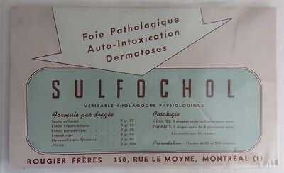 Vintage French Sulfochol Dermatology Trade Card Blotter    (Inv2598)