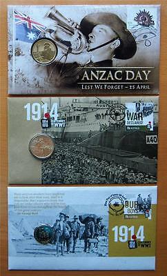 2012 & 2014 Australian Anzac 3 X  Pnc Stamp And $1 Coin Covers