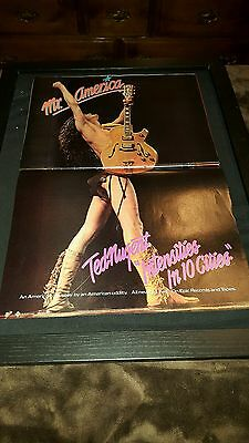 Ted Nugent Intensities In 10 Cities Rare Original Promo Poster Ad Framed!