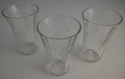 (3) Vintage 2 1/2 Inch Tall Bevelled Glass Set With Grape Pattern