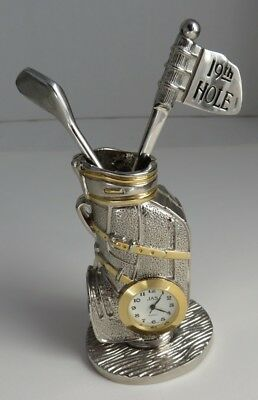 19th TEE FLAG AND GOLFBAG DESK TOP CLOCK - WORKS !                     (INV9368)