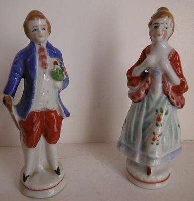 Victorian Gentleman And Lady 4 1/2 Inch Tall Occupied Japan Figures