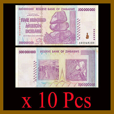 10 Pcs x Zimbabwe 500 Million Dollars, 2008 AA/AB Circulated, 50 100 Trillion