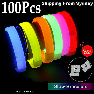 New 100X Mixed Colour Glow Sticks Bracelets Light Party Glowstick in the Dark