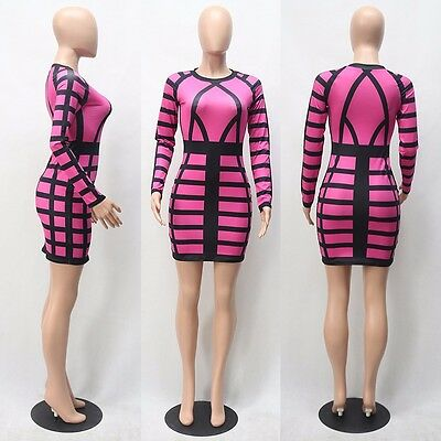 Hot Pink & Black LYCRA COCKTAIL DRESS STRIPED BANDAGE PRINT/DRAG QUEEN/ Sz 12-22