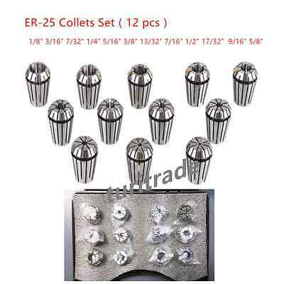 New 12Pcs ER25 Spring Collet Set For CNC Milling Lathe Tool Engraving Machine