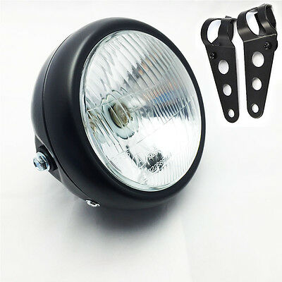 "6 1/2"" Motorcycle Headlight Head Lamp 35W w/ Fork Brackets For Harley Cafe Racer"
