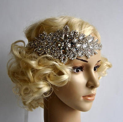 Crystal Rhinestone Headband Bridal Headpiece Wedding Hair Jewelry Silver NEW