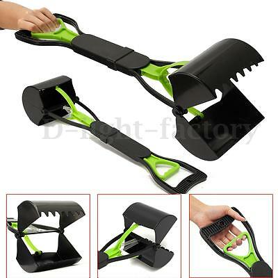 Pet Dog Cat Easy Waste Picker Clean Pikup Jaw Pooper Scooper Poo Remover Green