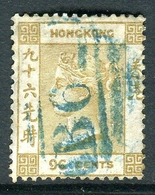 HONG KONG-1865 96c Olive Bistre.  A fine used example Sg 18