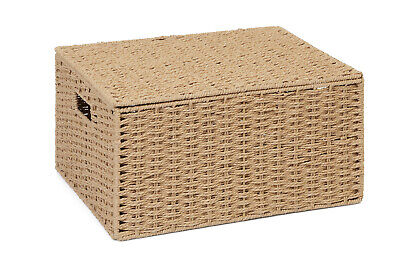 Extra large Natural Paper Rope Storage Baskets Boxes Hampers with Lids WB-9694XL