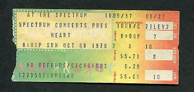 Original 1978 Heart concert ticket stub Spectrum Philadelphia Dog And Butterfly