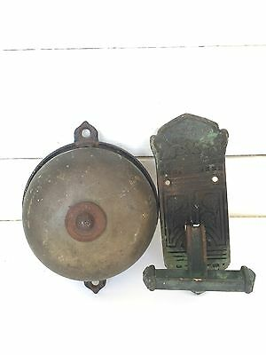 Antique Mechanical Brass Doorbell with Pull Ornate Victorian 1881