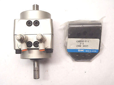 Smc Ncrb50-90L Pneumatic Rotary Actuator W/ Crb50-Y-1 Mounting Brackets