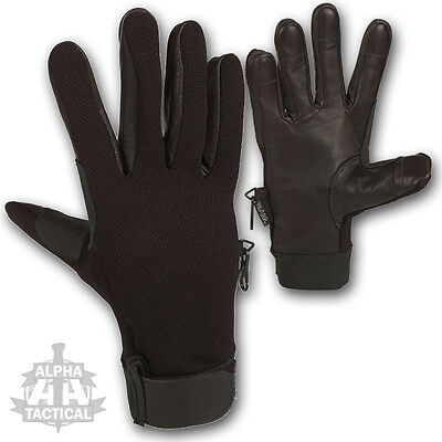 Security Lightweight Contact Made With Kevlar Anti Slash Leather Gloves Black