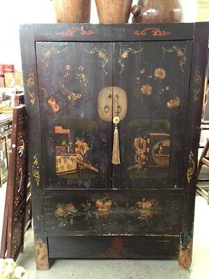 Stunning Black Hand Painted Chinese Antique Cabinet