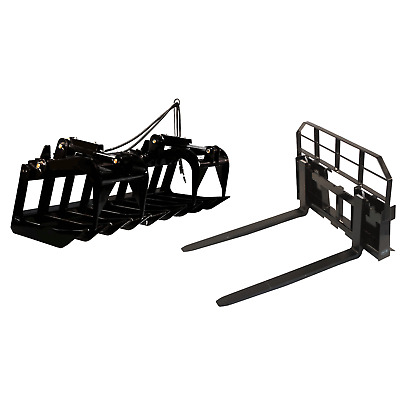 """72"""" Root Grapple Bucket and 48 HD Pallet Forks PACKAGE Skid Steer Loader Tractor"""