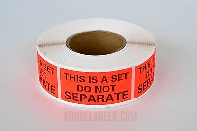 "1 Roll ; 500 Labels 1"" x 2"" Pre-Printed This Is A Set Do Not Separate Labels"