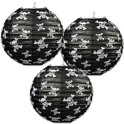 Skull and Crossbone Pirate Lanterns Pack of 3
