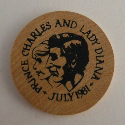 1981 Lady Diana And Prince Charles Wood Coin Token