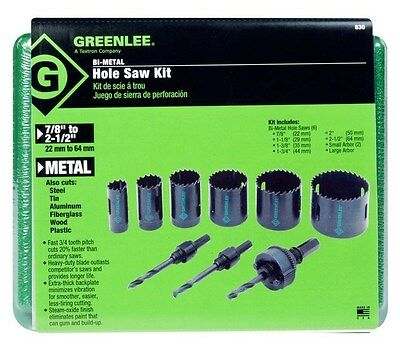 Greenlee 830 Hole saw set with 3 stops for1/2 - 2 conduit