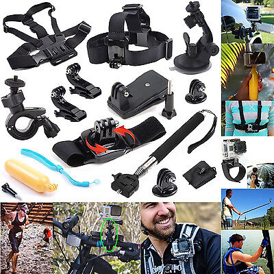 12in1 Head Chest Mount Floating Monopod Accessories Kit For GoPro 2 3 4 Camera