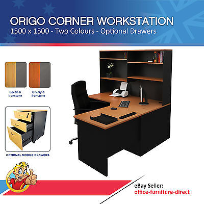 Corner Workstation Office Desk with Hutch, Computer Desks, Mobile Drawer Option
