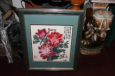 Superb Asian Chinese Watercolor Painting-Red Flowers-Signed Stamped Symbols-#1