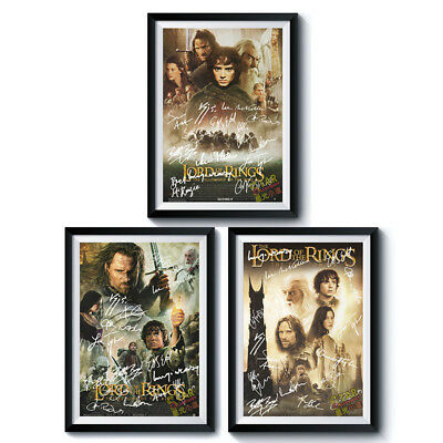 Signed PosterX3 LORD OF THE RINGS Trilogy A4 Reprint Movie Autographed 199P014