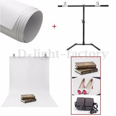 Adjustable Photography Small Stand + White PVC Backdrop Background + 2 Clips Set