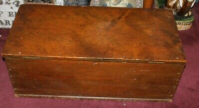 Antique Handmade Wood Storage Trunk Chest-Americana Country Decor-Large