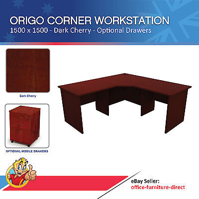 Corner Workstation Office Desk Computer Study Desks Dark Cherry 1500 X