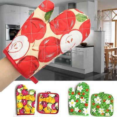 Cotton Thick Kitchen Cooking Glove Oven Mitts Heat Insulated +Pot Holder Mat Pad
