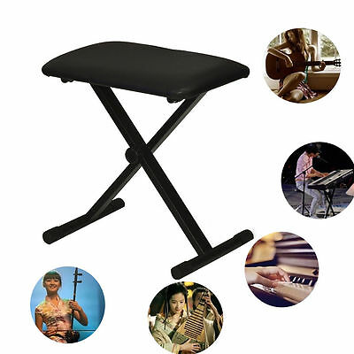 Black Adjustable Piano Keyboard Bench Leather Padded Seat Folding Stool Chair UK