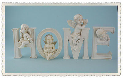 """Statue Angle Letters Resin Angel Cherub Statue Figurine Word Letters """"HOME"""""""