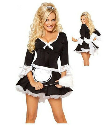 Halloween Sexy Adult  Darling Black & White Naughty French Maid  Costume Outfit