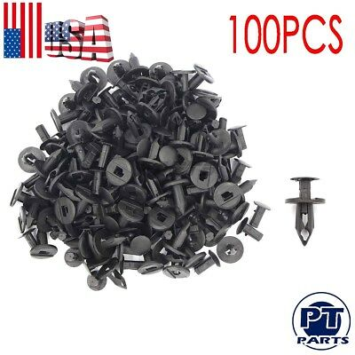 100pcs New 8mm Hole Plastic Rivets Fastener Push Clips Black For Car Auto Fender