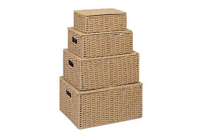 Storage Baskets Boxes Natural Paper Rope Hampers with Lids, Set of 4